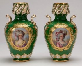 A Pair Of Royal Vienna Style Porcelain Vases