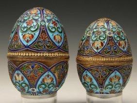 2 Russian Enamel Sterling Silver Eggs