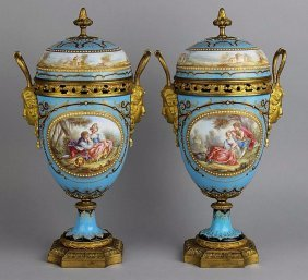A Very Fine Pair Of Jeweled Sevres Vases