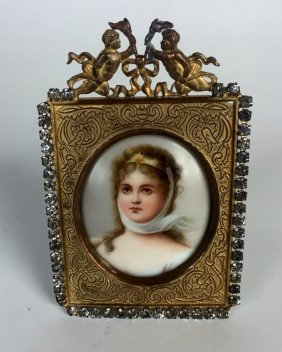 A Miniature Porcelain Plaque In A Gilt Bronze Frame