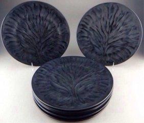 Eight Lalique Crystal Black Algeus Dinner Plates