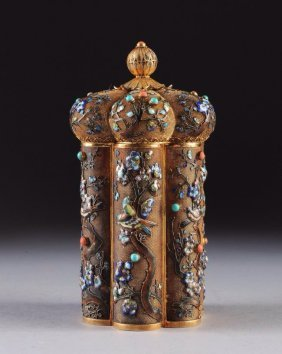 Chinese Silver Enamel Coral Tea Canister