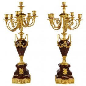 Large Pair Of Dore Bronze And Rouges Marble Candelabra