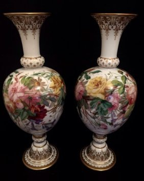 A Pair Of Opaline Baccarat Glass Vases Circa 1850