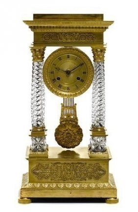 Baccarat Crystal And Ormolu Empire Style 19th C. Clock