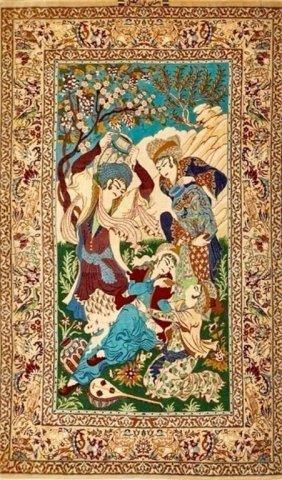 Persian Isphahan Pictorial Rug