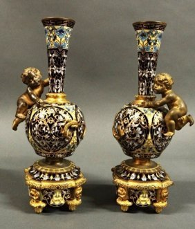 A Pair Of Champleve Enamel And Bronze Vases