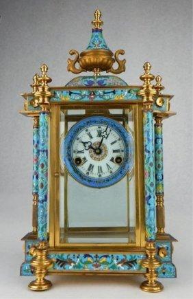 A Large Cloisonne Clock