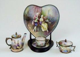 A Miniature Viennese Enamel Silver Tea Set Circa 1880