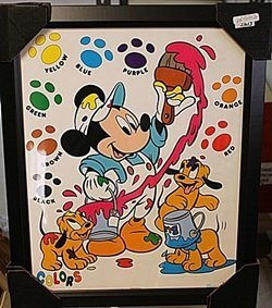 "Framed Lithograph ""mickey & Pluto's Pups Painting"""