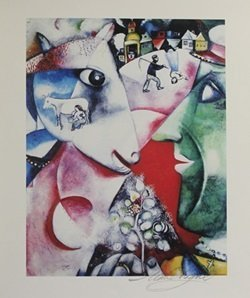 Lithograph - I And The Village - Marc Chagall