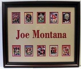 Joe Montana Custom Framed Memorabilia W/ 10 Authentic