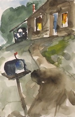 """Original Watercolor On Paper """"waiting For Mail"""" By"""