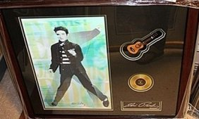 Elvis Presley Signed Photograph With Mini Gold Album &