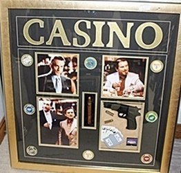 Casino Photograph With Gun, Bullet, Playing Cards,