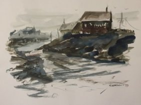 """Original Watercolor On Paper """"by The Coast"""" By Michael"""