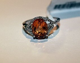 Beautiful Golden Sapphire & Diamond Ring