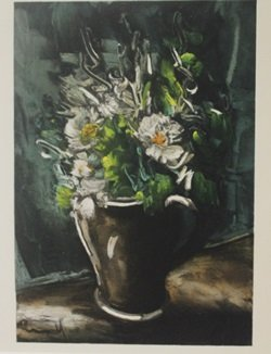 Flowers In Stone Vase - Lithograph - Maurice De