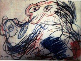 Karel Appel Pastel On Paper - The Dog