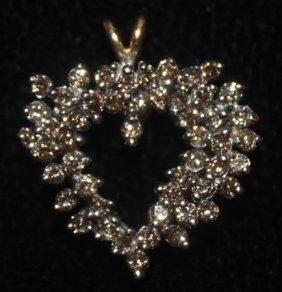 Gorgeous 14 Kt Heart Shape Diamond Pendant