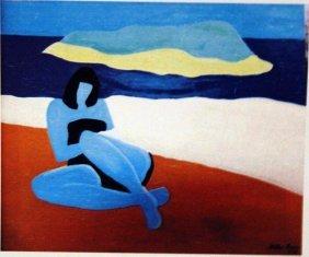 Milton Avery Oil On Paper - The Blue Girl