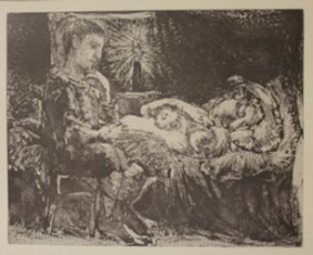 Boy Waiting Over Sleeping Women - Lithograph - By