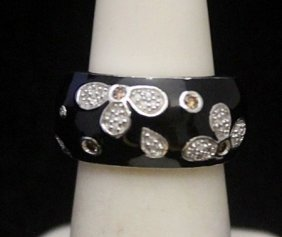 Lady's Gorgeous Silver Ring With Black Onyx & Diamonds