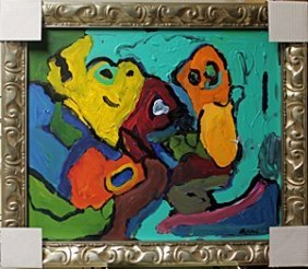 Acrylic Painting On Canvas - Karel Appel