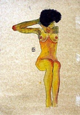 Nude Girl-gouache On Paper By Egon Schiele