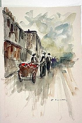 After E. Cortes Original Watercolor On Paper - Flower