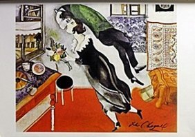 "Lithograph ""the Birthday"" After Marc Chagall"
