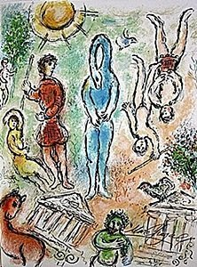 """Lithograph """"in Hell"""" By Chagall From The Odyssey Suite"""
