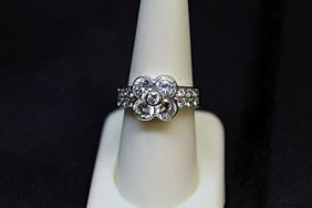 Lady's Fancy 4 Leaf Clover Design White Sapphire Ring.