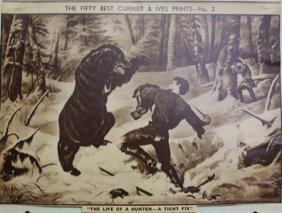 """the Life Of A Hunter-a Tight Fix"" Vintage Lithograph"