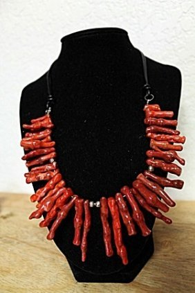 Coral With Silver Balls Necklace