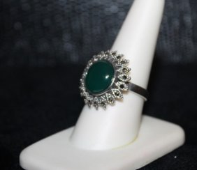 Very Fancy Jade & Black Diamond Ring. (290j)