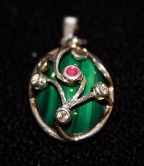 Beautiful Green Lapis, Rubies & White Sapphires