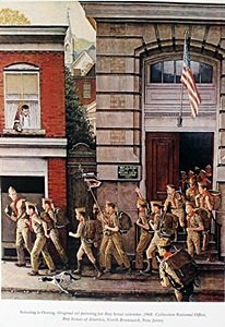 """Lithograph """"boy Scouts"""" By Norman Rickwell"""
