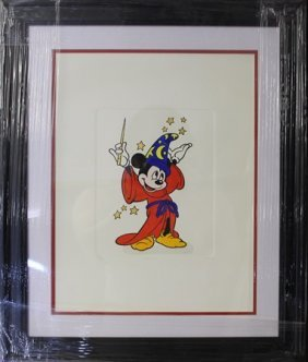 "Disney Etching ""mickey From Fantasia"""