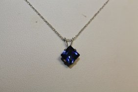 Lady's Fancy Lab Blue Sapphire Pendant With 18kts Gold