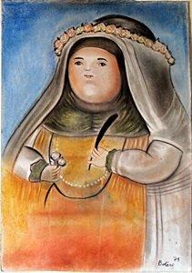 Sor Karla - Pastel Drawing On Paper - Fernando Botero
