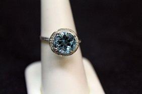 Lady's Very Fancy White Gold London Blue Topaz &