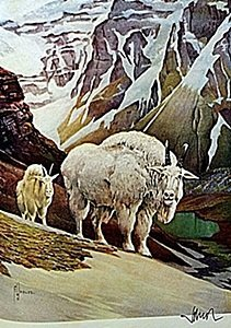 """Lithograph """"the Mountain Goat"""" By Artist Francis Lee"""