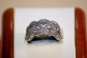 Lady's Antique Style 14 Kt White Gold Diamond Ring