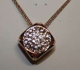 Lady's 18kts Gold Over Silver Cube Pendant With White