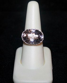 Lady' Fancy Pink-blue Topaz With Diamond Chips Gold