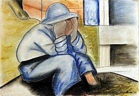 """nino Sentado"" Pastel On Paper - Diego Rivera"