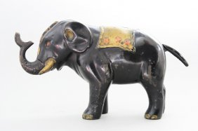 Elephant And Three Stars Mechanical Bank