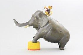 Elephant With Monkey, Bakelite Mechanical Bank