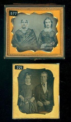 2 Sixth Plate Daguerreotypes Of Groups